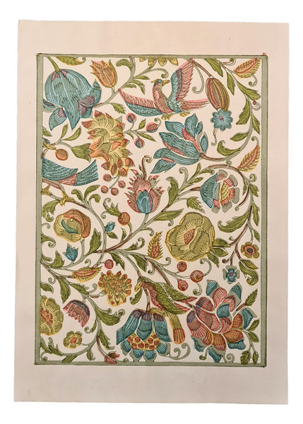 FANCY: No.63 Baroque Flowers & Birds CR  (green)