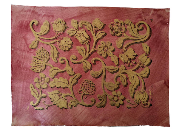No. 55 Gold Paste Flowers on Dark Pink Wash