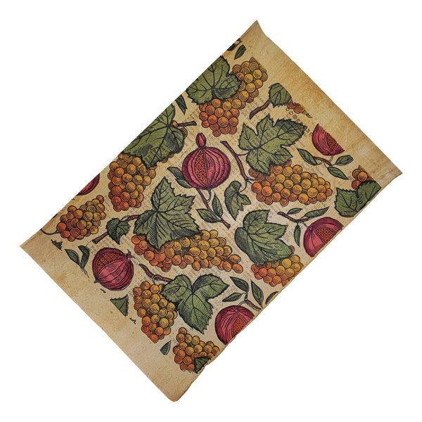 Pomegranates & Grapes on antique wash paper