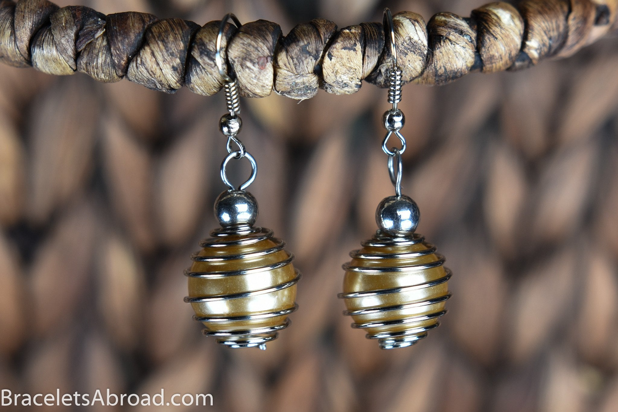 Jewelry Champagne Gold Earrings Handmade From Bali Indonesia With Pearl  Charms Wrapped In Metal