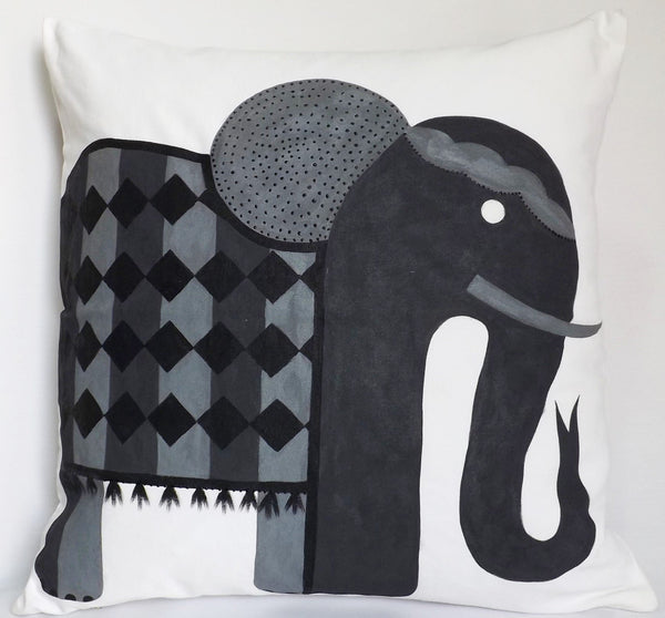 Gallery Pillow, Playful Pachyderm Grey