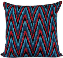 Ikat Couture Pillow, Moody Blues