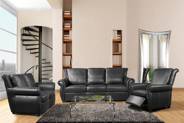 Fornirama - 4420 TRANSITIONAL RECLINING LEATHER COUCH