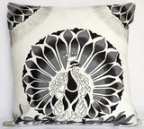 Turquoise Palace - Gallery Pillow, Peekaboo Peacock/Grey