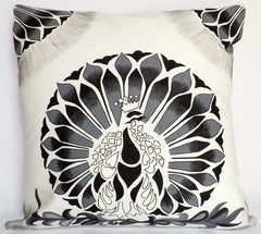 Gallery Pillow, Peekaboo Peacock/Grey