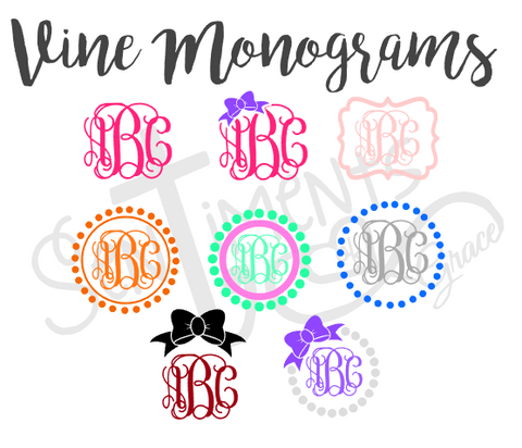 Vine Monogram Decal Designs