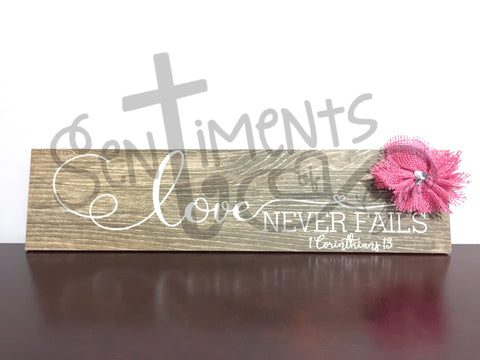"Love Never Fails 6""x24"" Faux Wood Tile Decor - Perfect Valentine or Wedding Gift"