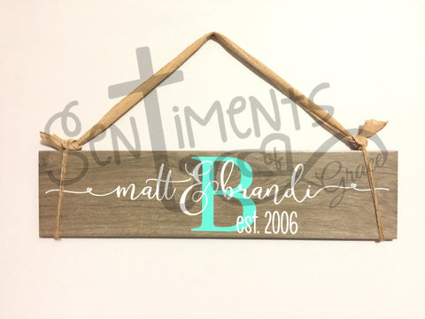 "Name and Monogram 6""x24"" Faux Wood Tile Decor - Perfect Valentine or Wedding Gift"