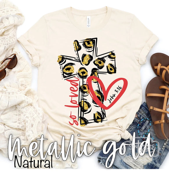 So Loved Leopard Cross - Red and Metallic Gold T-Shirt
