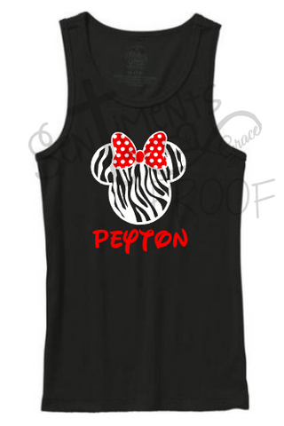 Kid's Minnie Mouse Inspired Zebra Print Tank w/ Red Polka Dot Bow