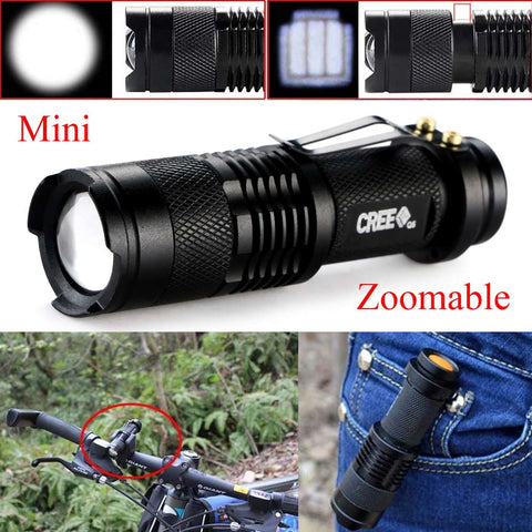 New Mini 2000 Lumens Bright CREE Q5 LED Adjustable Zoom Focus Flashlight