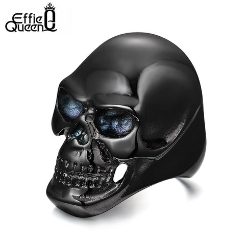 Men's Black Stainless Steel Skull Ring