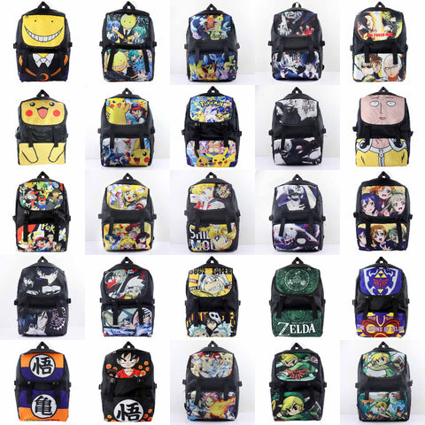Anime Pokemon/One Punch Man/Tokyo Ghoul/Zelda/LoveLive/Black Butler etc Waterproof Laptop Backpack/Double-Shoulder/School Bag