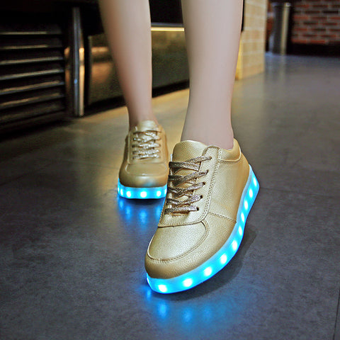 Women's Gold Casual LED Light Up Shoes