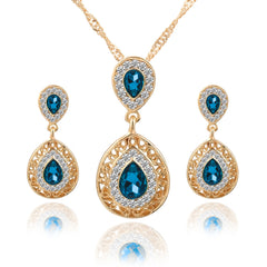 DOUBLE TEAR DROPS - Gold and Light Blue Crystal Necklace & Earrings