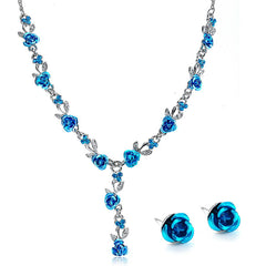 BLUE ROSES - Vintage Blue Crystal Necklace & Earrings