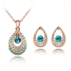 ELEGANT!  Classic White/ Gold Plated Water Drop Crystal Rhinestone Earrings Necklaces jewelery Set