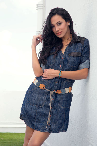 Shirt Dress in Denim Linen