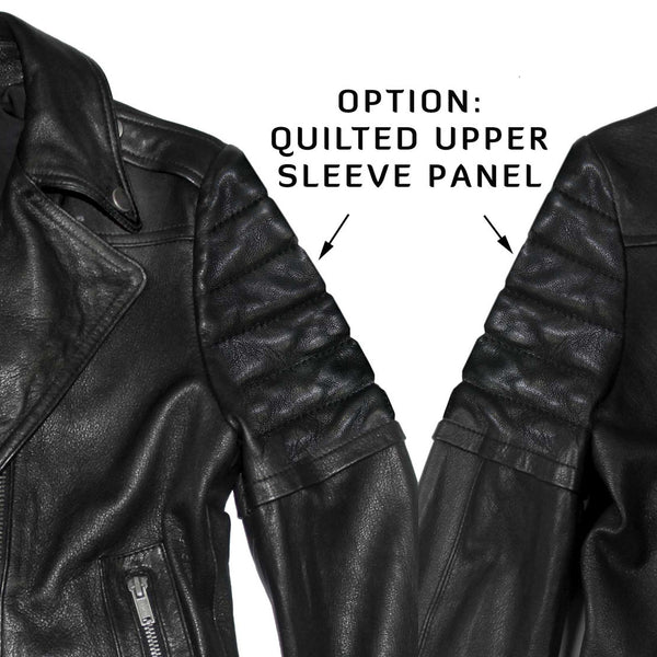 Quilted Moto Jacket, With or Without Quilting at Sleeves or Collar Snap