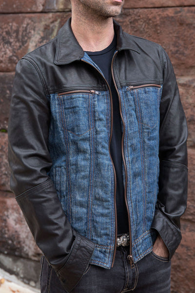 Heavy duty Linen Denim and washable Leather Jean Jacket