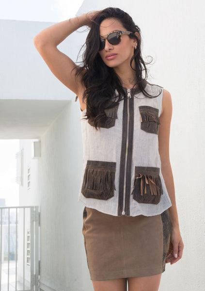 Mesh Linen Vest with Patch pockets and with or without Fringe