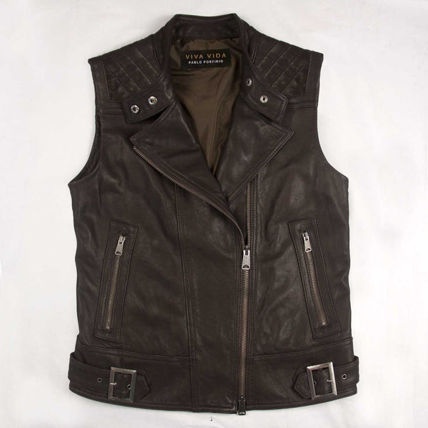Moto Quilted Vest in a Washed Lamb