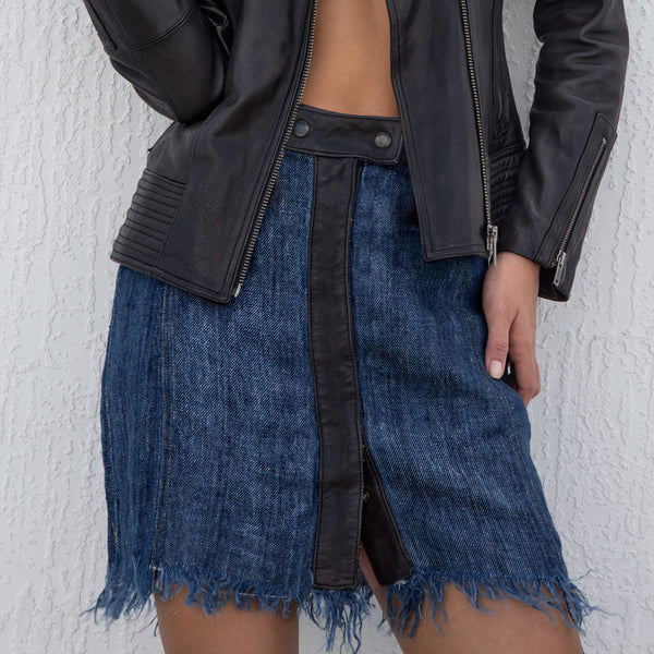 Fringed bottom denim linen with leather waist and front