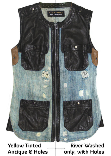 Off-duty Vest.  Black washable lamb leather with River washed Denim Linen