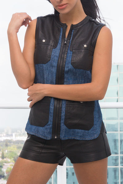 Off-Duty Travel Vest, in rinse wash Linen and leather, with or without holes
