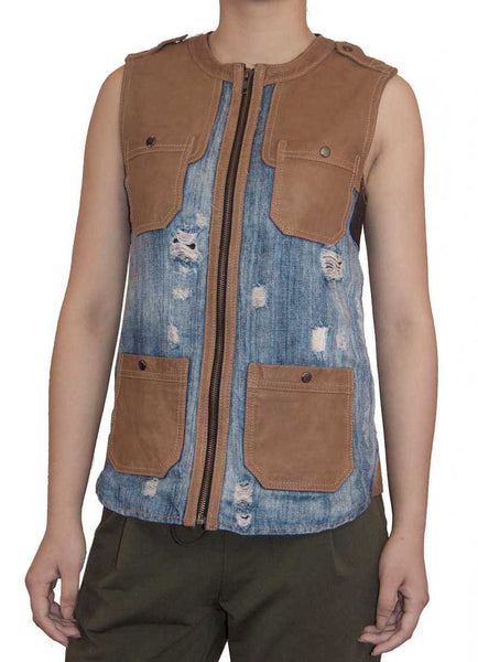 Off-duty Vest.  Faded and shaded.  Unique Denim Linen with washable lamb leather