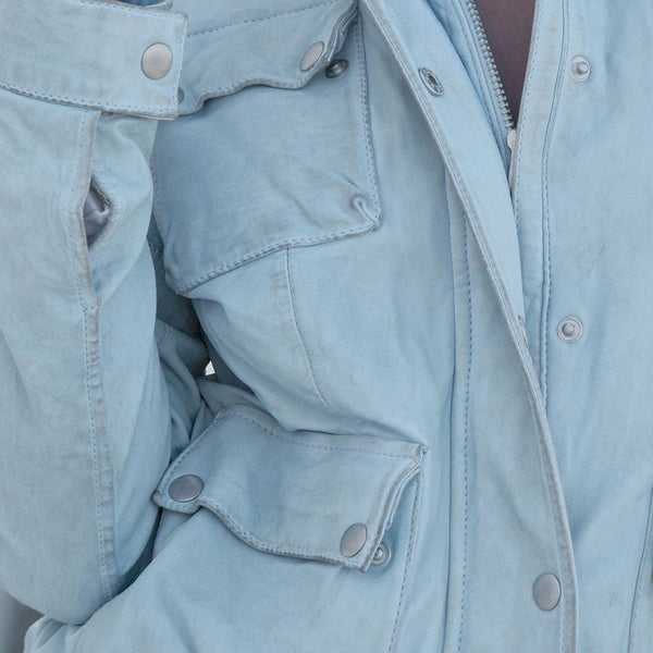 Sky Blue Washed Leather Field Jacket
