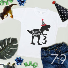 Three-a-saurus Dinosaur with Party Hat - Birthday Boy Shirt