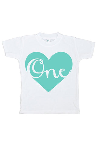 Custom Party Shop Unisex Baby's Novelty First Birthday Heart Onepiece Outfit 2T Teal