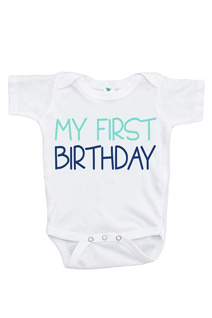 7 ate 9 Apparel Baby Boy's Novelty First Birthday Onepiece Outfit