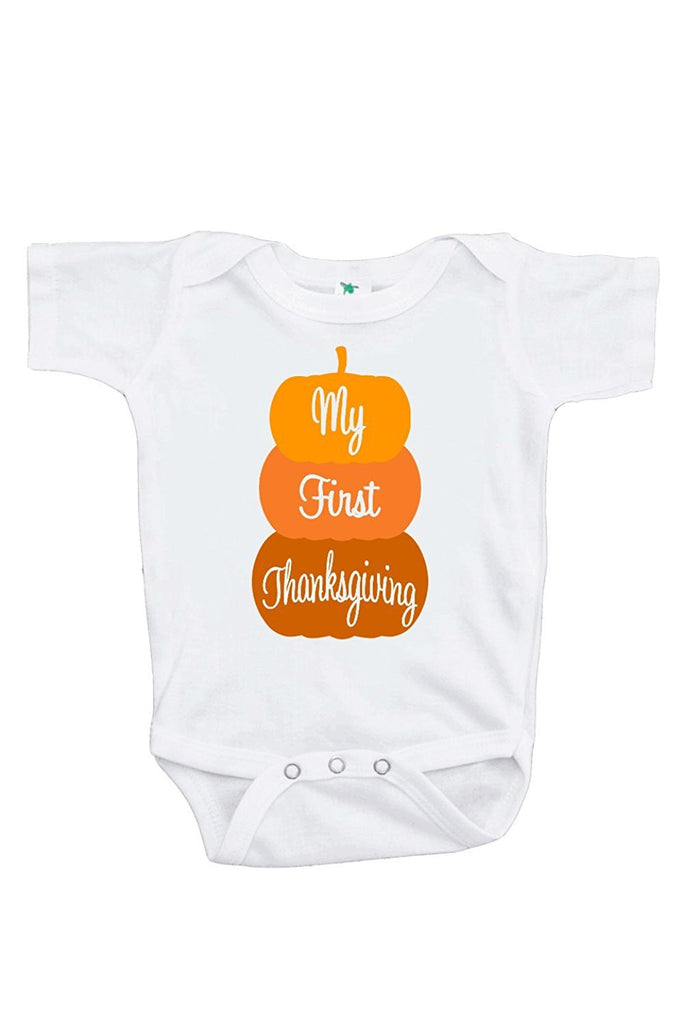 7 ate 9 Apparel Baby Boy's My First Thanksgiving Pumpkin Onepiece