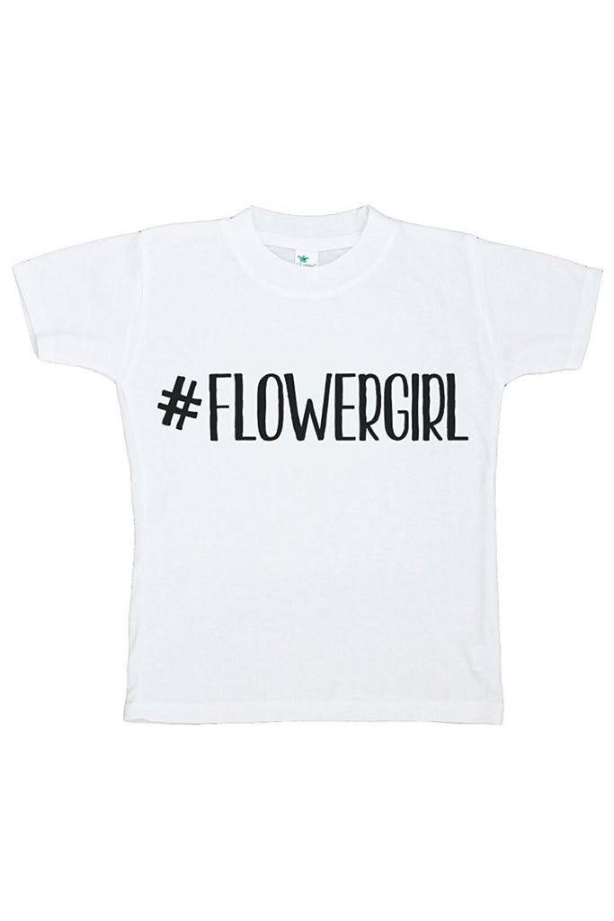 7 ate 9 Apparel Girl's Hashtag Flower Girl Wedding T-shirt