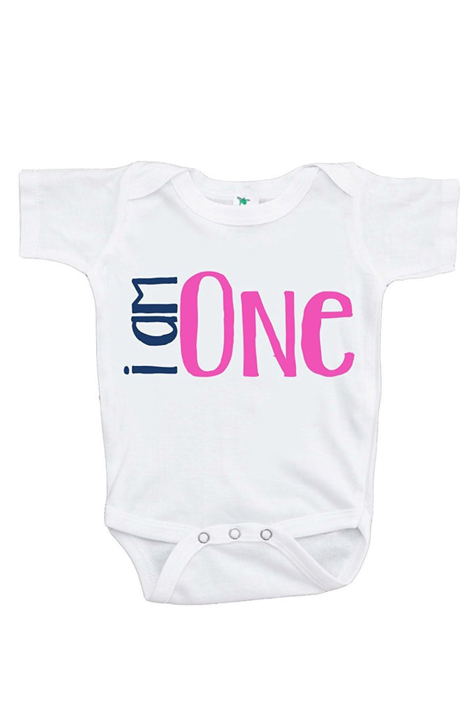 7 ate 9 Apparel Baby Girls' Novelty I am One First Birthday Onepiece Outfit
