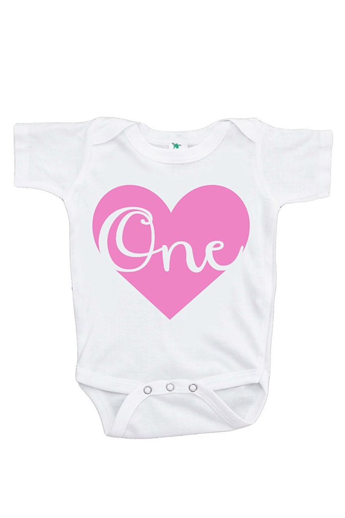 7 ate 9 Apparel Baby Girls' Novelty First Birthday Heart Onepiece Outfit