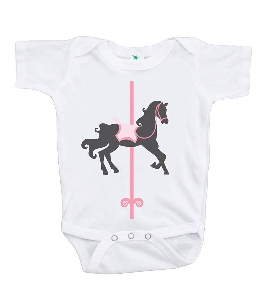 7 ate 9 Apparel Baby Girl's Vintage Carousel Horse Onepiece