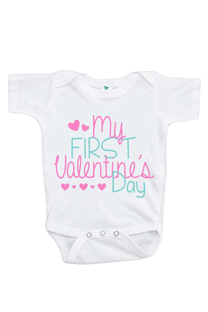 7 ate 9 Apparel Unisex Baby's My First Valentine's Day Onepiece
