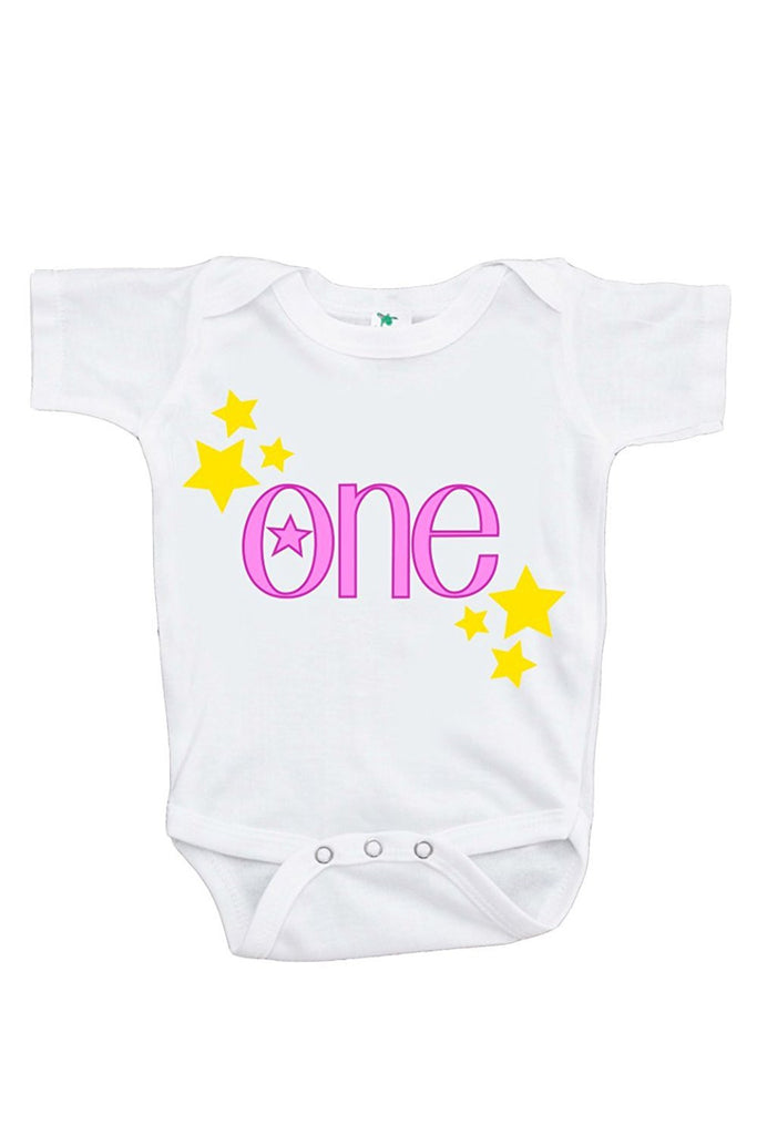 7 ate 9 Apparel Baby Girls' Novelty First Birthday One Onepiece Outfit