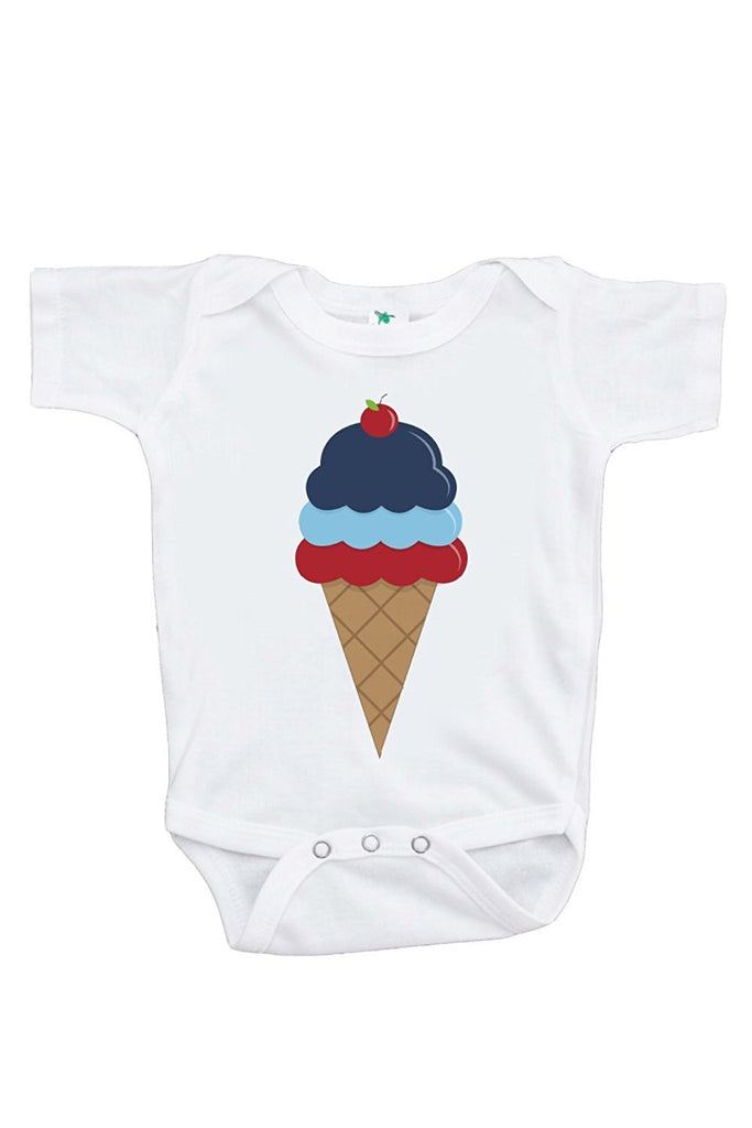 7 ate 9 Apparel Baby's Ice Cream 4th of July Onepiece