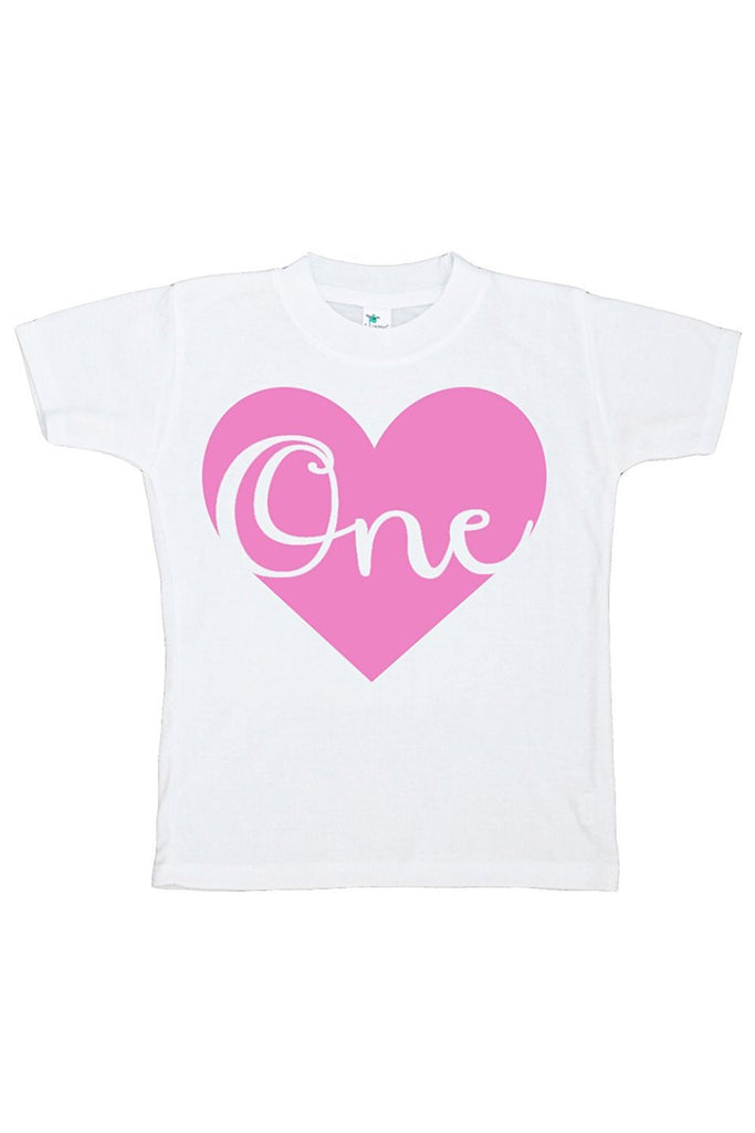 7 ate 9 Apparel Baby Girls' Novelty First Birthday Heart Onepiece Outfit 2T Pink
