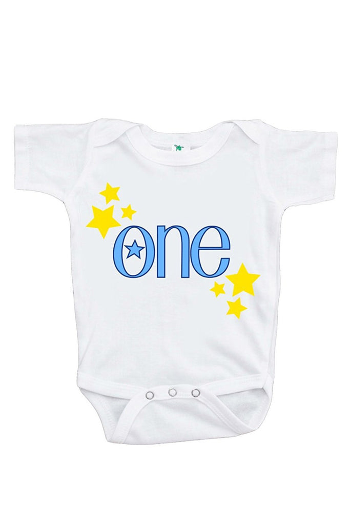 7 ate 9 Apparel Baby Boy's Novelty First Birthday One Onepiece Outfit