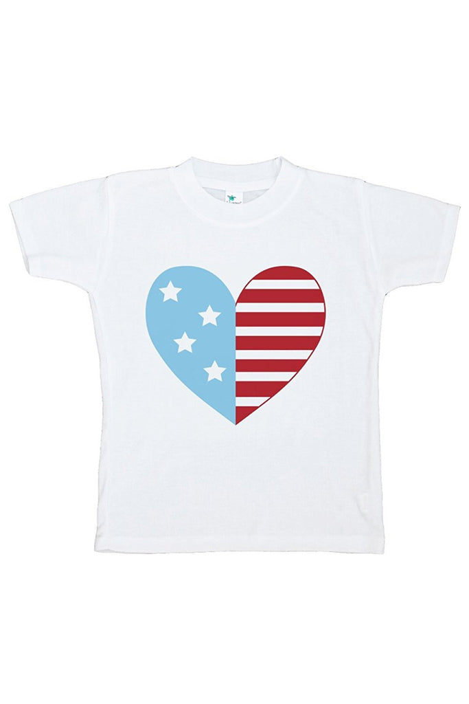 7 ate 9 Apparel Kid's Flag Heart 4th of July T-shirt