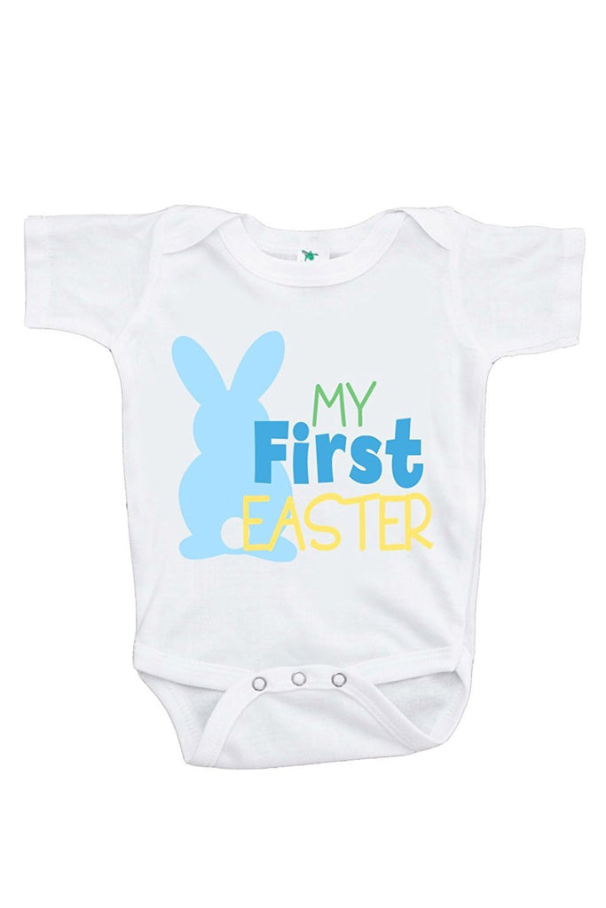 7 ate 9 Apparel Unisex Baby's Novelty Blue Bunny My First Easter Onepiece
