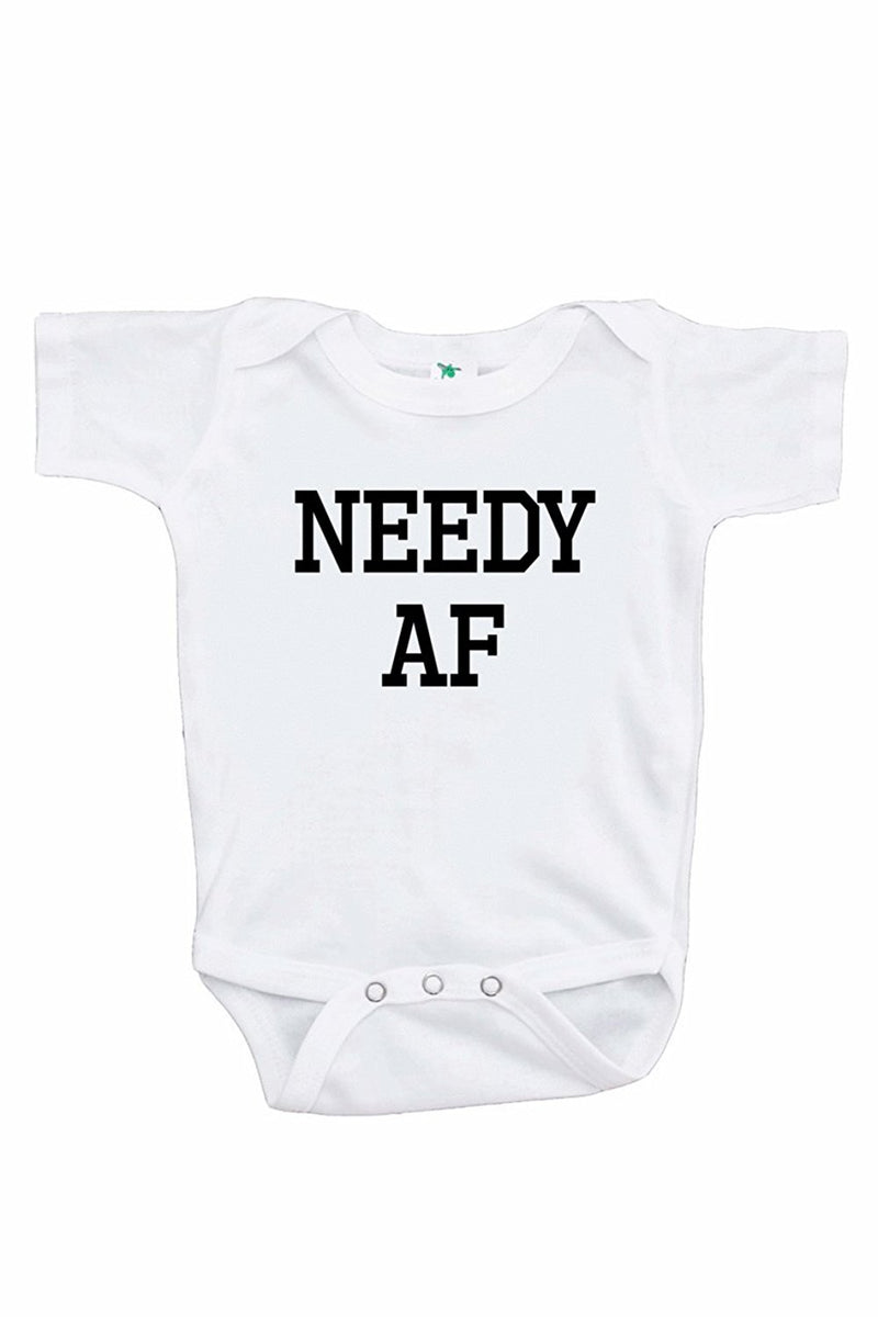7 ate 9 Apparel Funny Kids Needy AF Baseball Tee Red