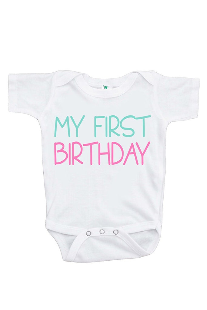 7 ate 9 Apparel Baby Girls' Novelty First Birthday Onepiece Outfit
