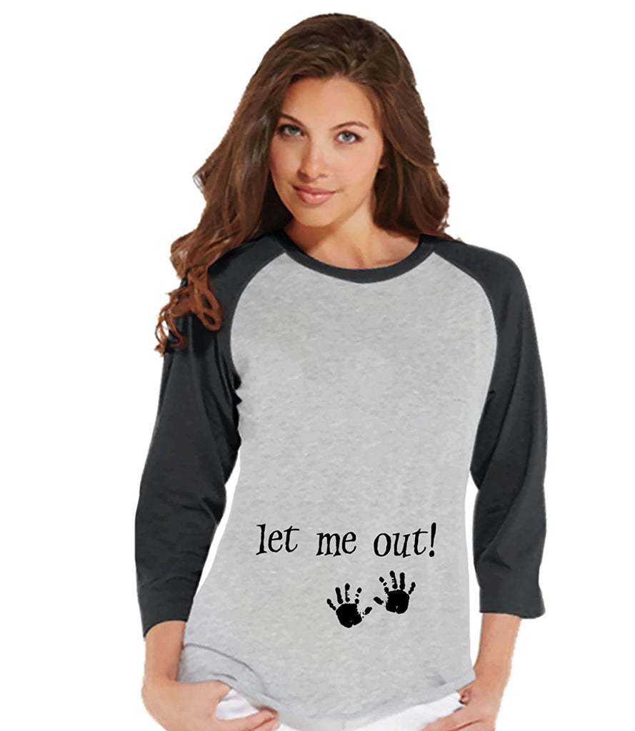 7 ate 9 Apparel Womens Let Me Out Funny Baby Halloween Raglan Shirt