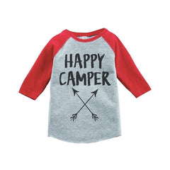 7 ate 9 Apparel Unisex Happy Camper Outdoors Raglan Tee